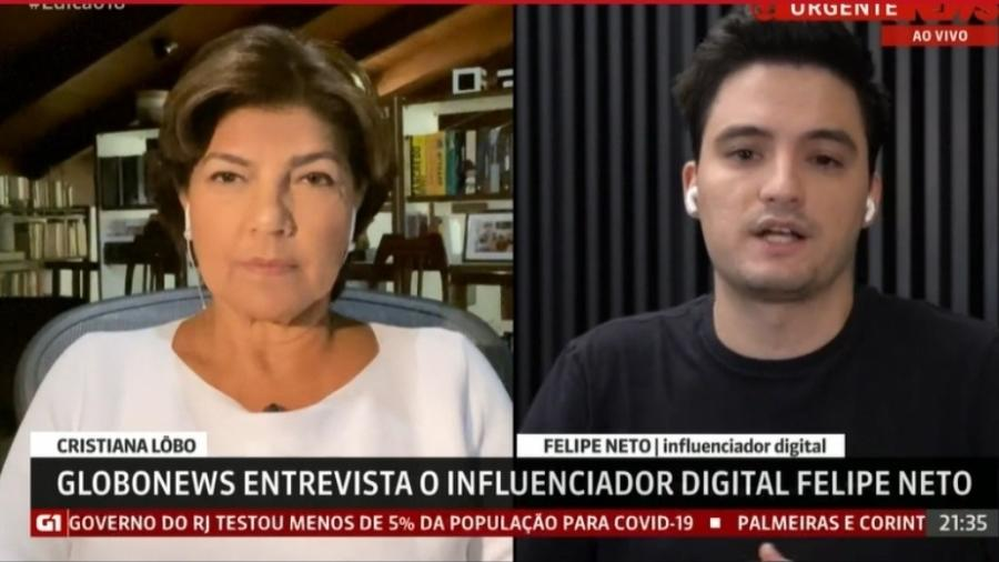 Felipe Neto responde à jornalista Cristiana Lôbo na GloboNews  - Reprodução