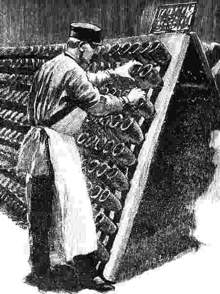 Gravura mostra a virada manual das garrafas na Pommery - Getty Images - Getty Images