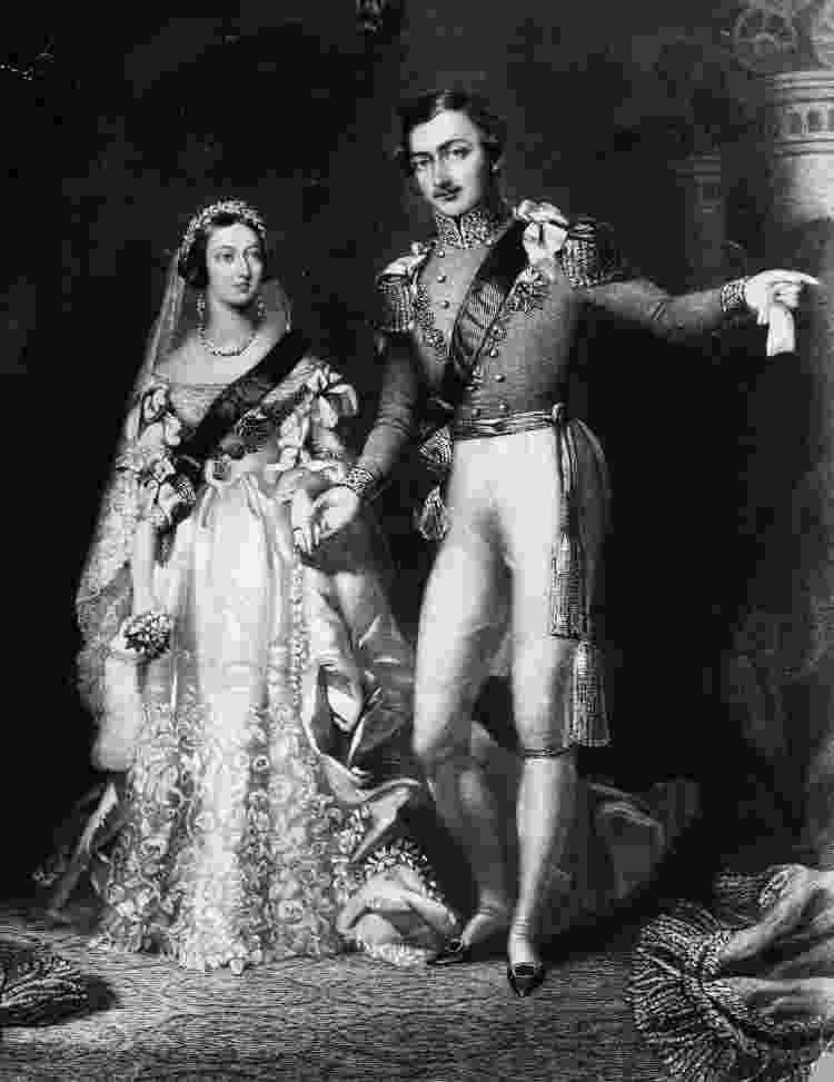 Rainha Vitória no seu casamento com Albert de Saxe-Coburg, em 10 de fevereiro de 1840 - Reprodução - Reprodução
