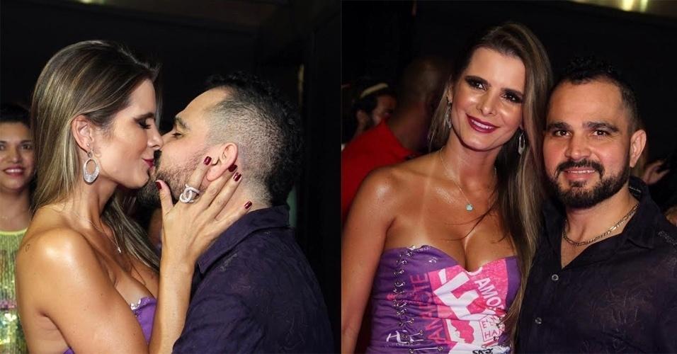 5.fev.2016 - Luciano Camargo troca beijos com sua mulher no camarote É o Amor, de sua dupla com Zezé di Camargo, na Sapucaí