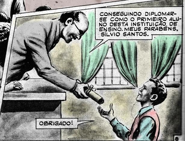 Detalhe do quadrinho restaurado contando a história de Silvio Santos - Divulgação