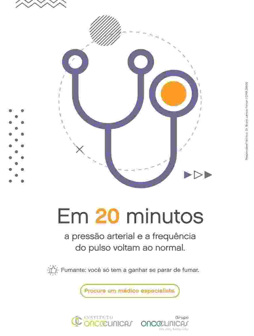 Benefícios de parar de fumar após 20 minutos - Divulgação/Grupo Oncoclínicas