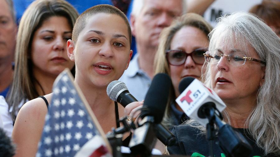 Emma González, uma das estudantes que protestam pelo controle de armas depois de sua escola ter sido alvo de um atirador na Flórida - AFP/Getty Images