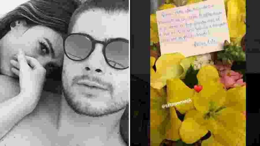 Rafael Vitti mostra flores e bilhete recebidos de Tatá Werneck - Reprodução/Instagram