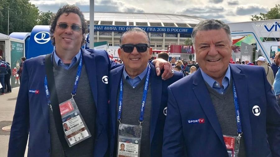 Casagrande, Galvão Bueno e Arnaldo Cezar Coelho cobrem a Copa da Rússia para a Globo - Reprodução/Instagram