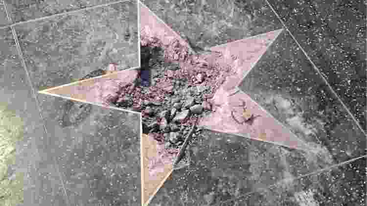 Estrela de Donald Trump na Calçada da Fama é vandalizada - Reprodução/Twitter - Reprodução/Twitter