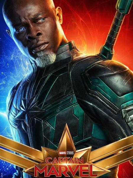 """Djimon Hounsou como Korath em pôster de """"Capitã Marvel"""" - Divulgação"""