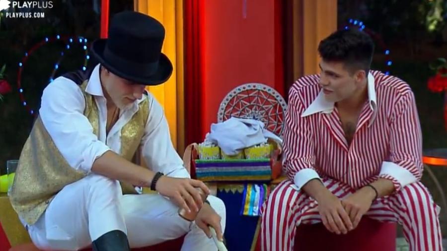 Guilherme Leão e Netto conversam durante festa - Reprodução/Playplus
