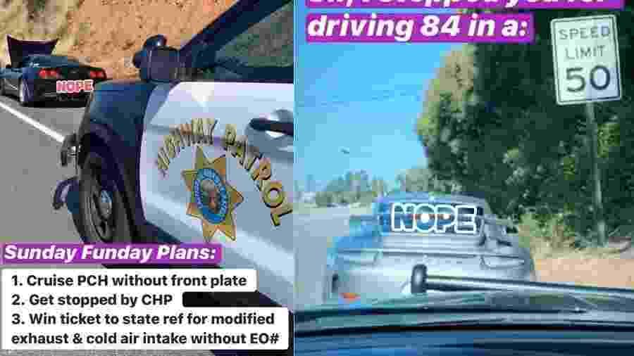 Polícia da Califórnia para carros de luxo em quarentena - Reprodução