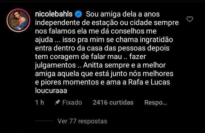 Nicole Bahls defende Anitta nas redes sociais