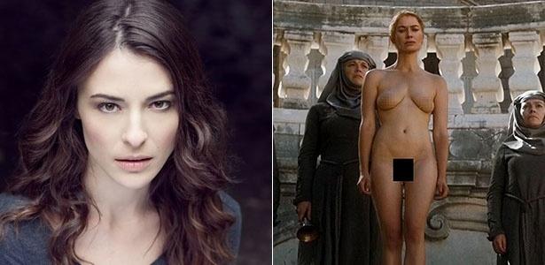"""A atriz Rebecca Van Cleave, que ficou nua no lugar de Lena Headey em cena da série """"Game of Thrones"""""""