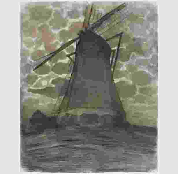 Piet Mondrian, Moinho à noite (1917) - Gemeentemuseum, Den Haag, Holanda