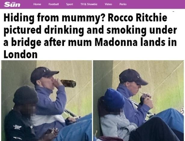 Rocco foi fotografado embaixo de uma ponte no centro de Londres - Reprodução/The Sun