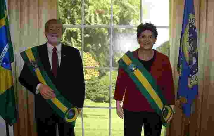 """Antiga disposição do museu de cera Dreamland, em Gramado, trazia o ex-presidente Luiz Inácio Lula da Silva e a então presidente Dilma Rousseff lado a lado no salão oval junto de outras estátuas de presidentes. Hoje a estátua de Dilma está exposta sozinha em um canto do museu, enquanto o boneco de Lula está no ateliê """"descansando"""" - Leandro Armando"""