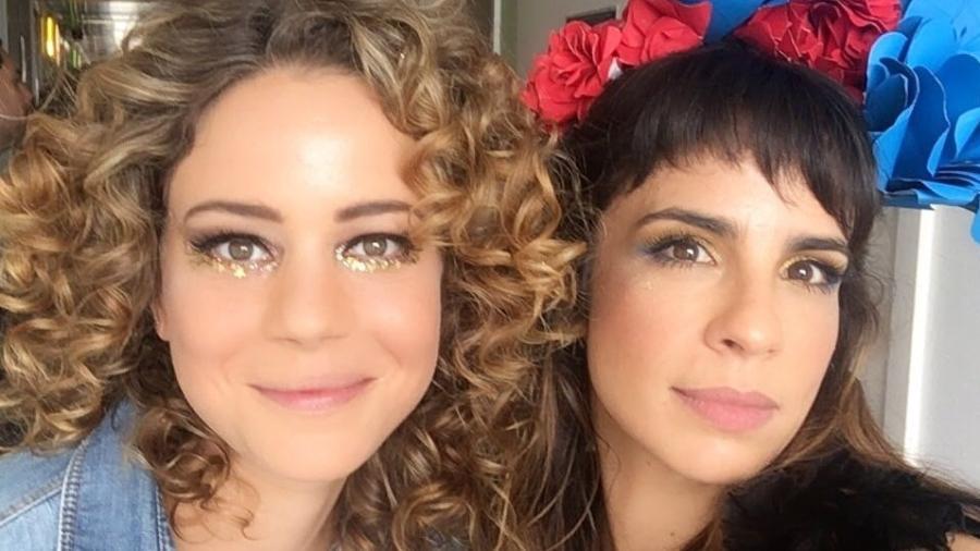 Leandra Leal e Maria Ribeiro nos preparativos para o Baixo Augusta - Reprodução/Instagram