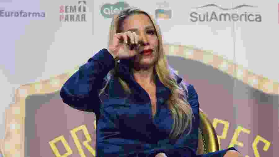 """A atriz Danielle Winits se emociona durante coletiva de imprensa do musical """"Os Produtores"""" - Eduardo Martins/AgNews"""