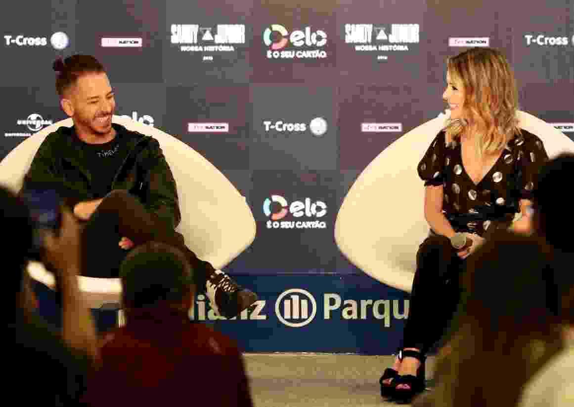 Sandy e Junior reuniram a imprensa hoje, no Allianz Parque, em São Paulo, para anunciar a turnê de reunião Nossa História - Mariana Pekin/UOL