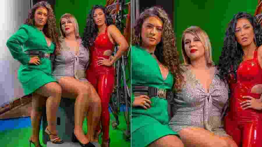 Marília Mendonça posa ao lado de Simone e Simaria em gravação de clipe - Reprodução/Instagram