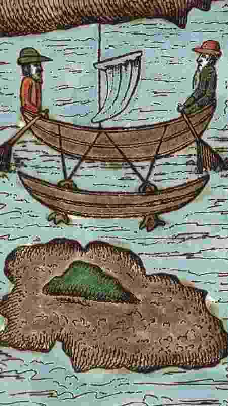 Ilustração do século 16 sobre a jornada de Antonio Pigafetta ao redor do mundo - DeAgostini/Getty Images - DeAgostini/Getty Images