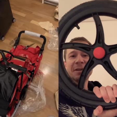 Tiago Leifert monta carrinho de bebê da filha - Reprodução/Instagram