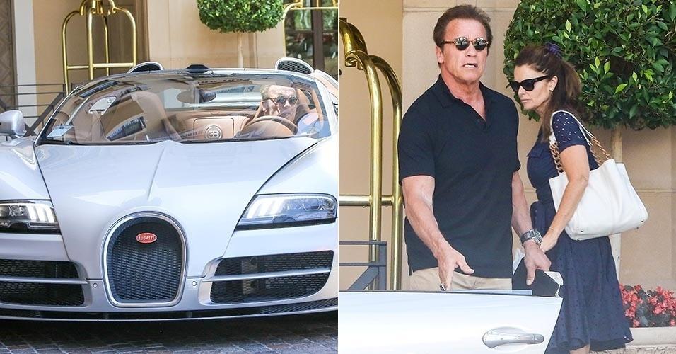 """31.jul.2015 - No dia do seu aniversário de 68 anos, completados na quinta-feira, Arnold Schwarzenegger comemora a data com a ex-mulher, Maria Shriver, e suas duas filhas, Katherine e Christina, no Montage Hotel, em Beverly Hills, na Califórnia (Estados Unidos). De óculos escuros, o astro de """"O Exterminador do Futuro"""" foi visto dirigindo seu Bugatti prateado"""