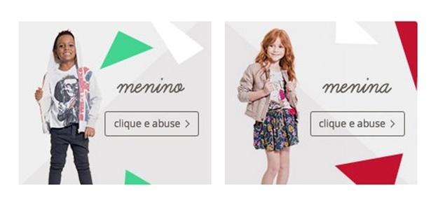 """C&A foi criticada por usar o botão com a palavra """"abuse"""" ao lado de foto de crianças - Reprodução/C&A"""