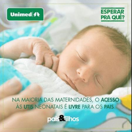 """Anúncio da Unimed veiculado na página da revista """"Pais & Filhos"""" - Reprodução/Facebook"""
