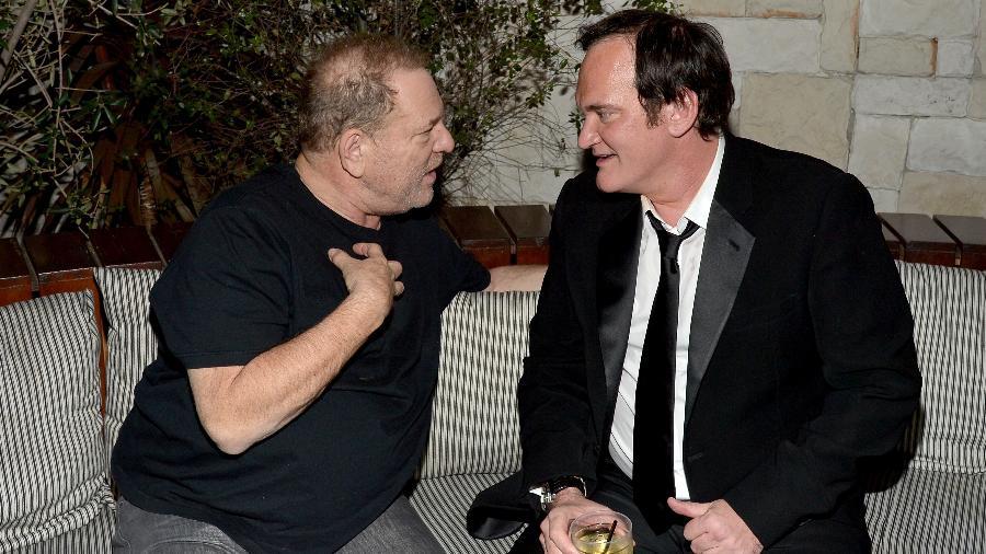 """Harvey Weinstein e Quentin Tarantino na pré-estreia de """"Os Oito Odiados"""" em Hollywood, em 2015 - Charley Gallay/Getty Images for The Weinstein Co"""