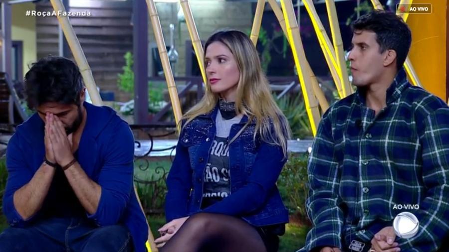 Sandro Pedroso, Nadja Pessoa e Felipe Sertanejo estão na segunda roça  - Reprodução/RecordTV