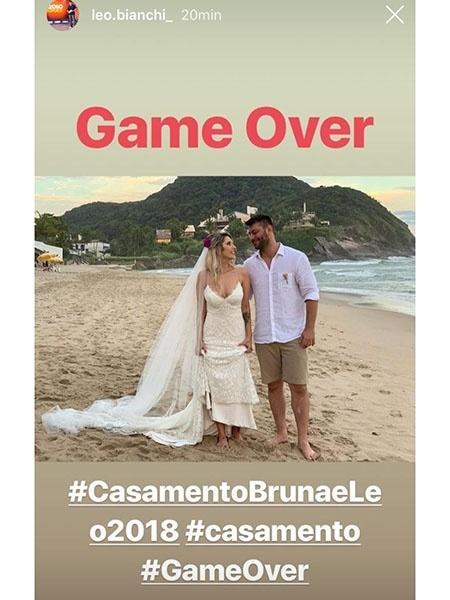 Leo Bianchi se casou com a jornalista Bruna Sinhorini neste sábado - Reprodução/Instagram