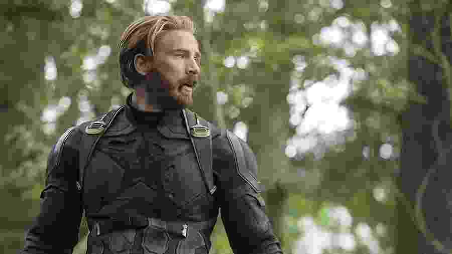 """Capitão América (Chris Evans) em cena de """"Vingadores: Guerra Infinita"""" - Divulgação"""