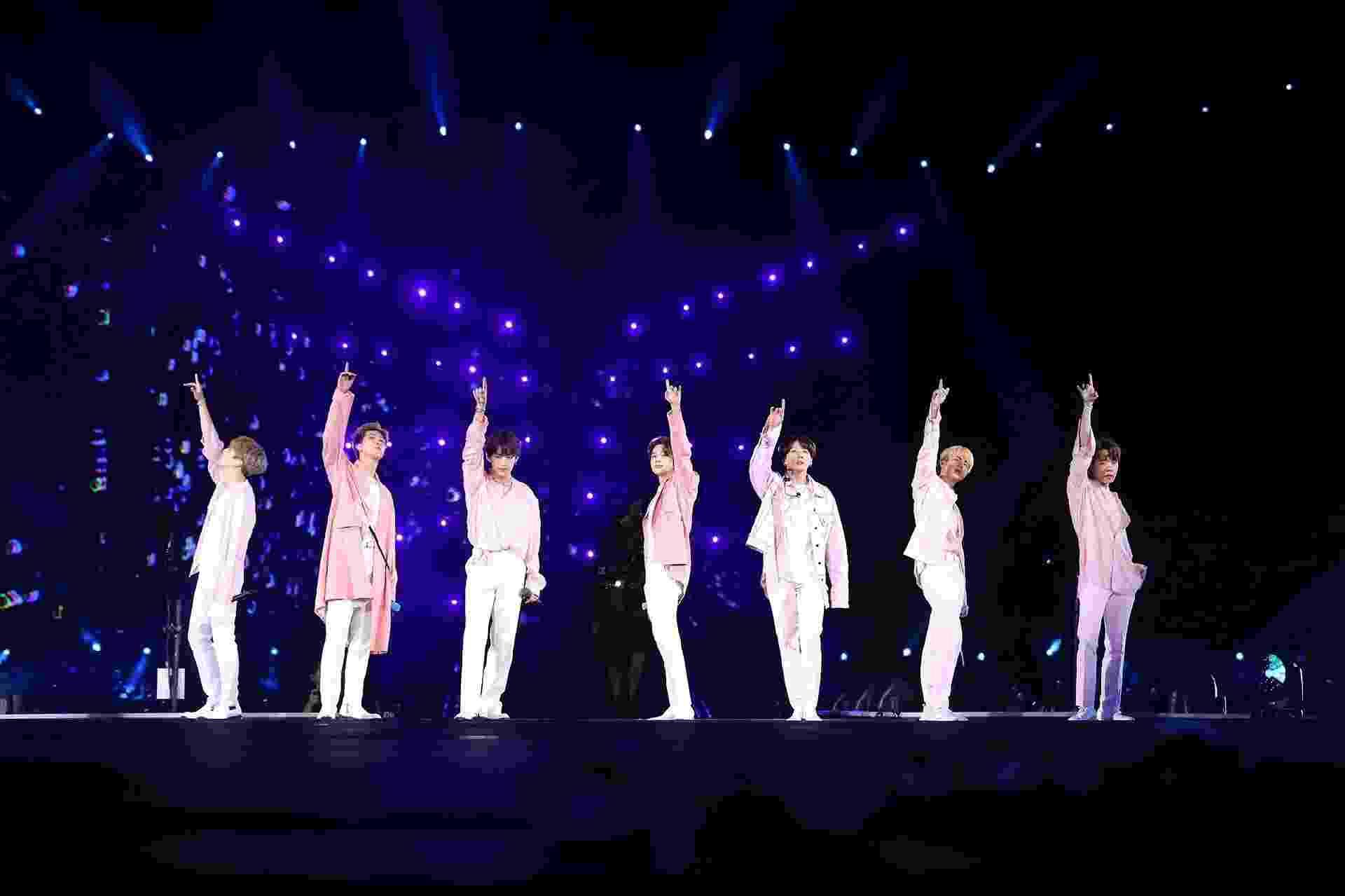 """BTS se apresenta pela turnê """"Love Yourself: Speak Yourself"""" no estádio do Allianz Parque, em São Paulo - BigHit Entertainment/Divulgação"""