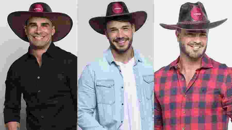 Jorge, Lucas e Rodrigo estão na quinta roça de A Fazenda 2019 - Montagem/Antonio Chahestian/ Record TV