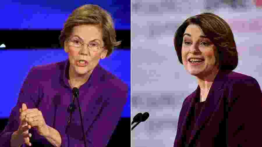 As senadoras Elizabeth Warren (à esquerda) e Amy Klobuchar, pré-candidatas democratas à presidência dos EUA - Robyn Beck/AFP