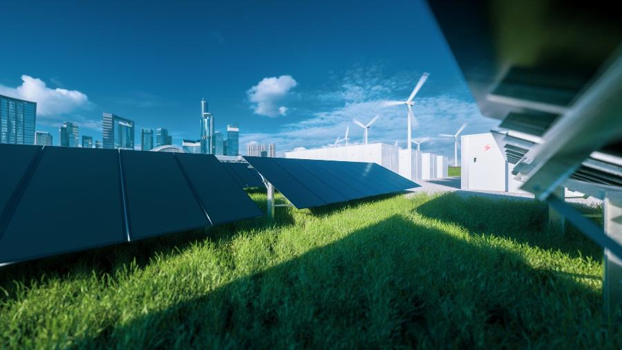 Painel solar e energia eólica - Getty Images/iStockphoto