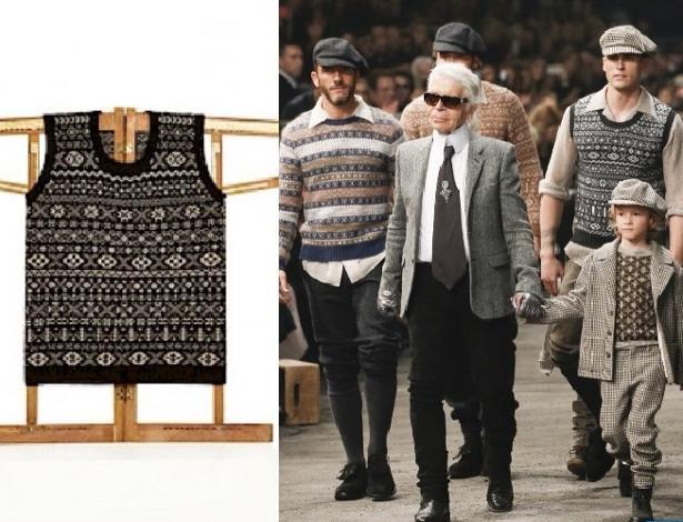 Montagem com imagem do desfile da Chanel, em Roma, e suéter sem mangas de marca escocesa - Reprodução/Facebook/Mati Ventrillon