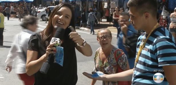 Senhora invade link e grita palavras de ordem contra a TV Globo - Reprodução/TV Globo