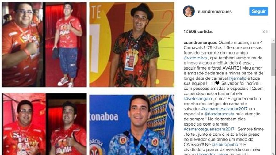 André Marques mostra antes e depois após perder 75 kg - Reprodução/Instagram/euandremarques