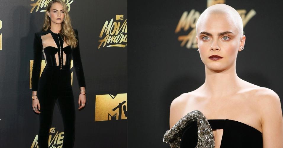 A atriz e modelo Cara Delevingne, 24 anos, surpreendeu a todos ao aparecer toda careca no MTV Movie Awards