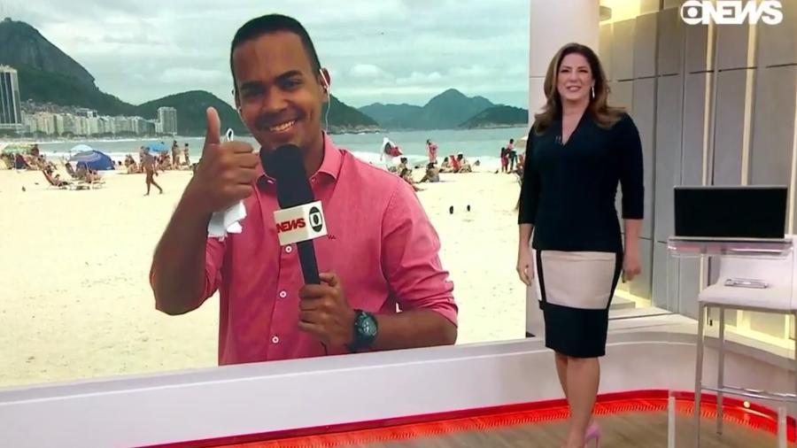 """Christiane Pelajo erra nome do repórter Diego Sarza no telejornal """"Edição das 16"""", do canal pago GloboNews - Reprodução/GloboNews"""