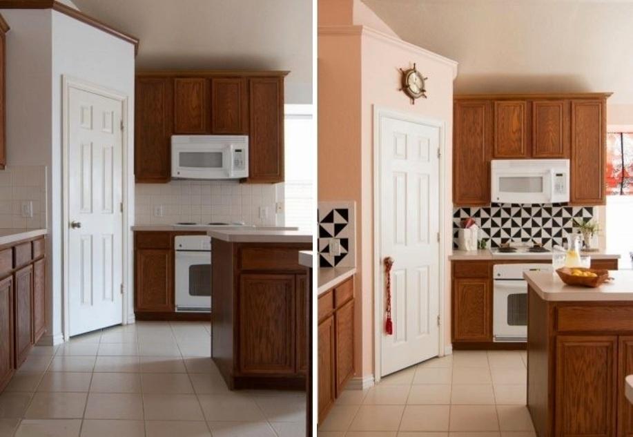 Aqui, nesta cozinha da década de 1990, a artesã e blogueira Brynne Delerson, do The Gathered Home, quis fazer uma intervenção, mas que durasse menos de uma tarde de trabalho e fosse capaz de modernizar o ambiente. Brynne, então, aplicou tinta nas paredes e, para contrapor o efeito delicado do rosa, adesivou vinílico preto em formato de pequenos triângulos