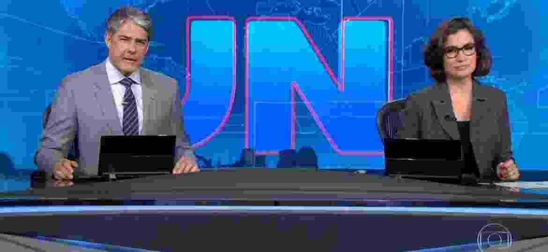 """William Bonner e Renata Vasconcellos no """"Jornal Nacional""""; ibope do telejornal disparou  - Reprodução/TV Globo"""