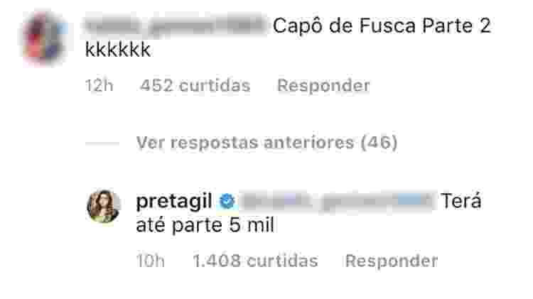 Preta Gil responde a comentários dos seguidores  - Reprodução/Instagram - Reprodução/Instagram