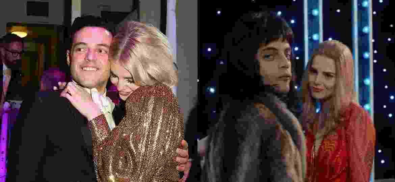 """Rami Malek e Lucy Boynton em festa pós-Globo de Ouro e no filme """"Bohemian Rhapsody"""" - Getty Images e Divulgação"""