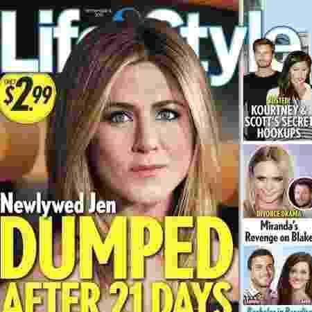 """Manchete da revista sobre Jennifer Aniston: """"Despejada depois de 21 dias"""" - Reprodução"""