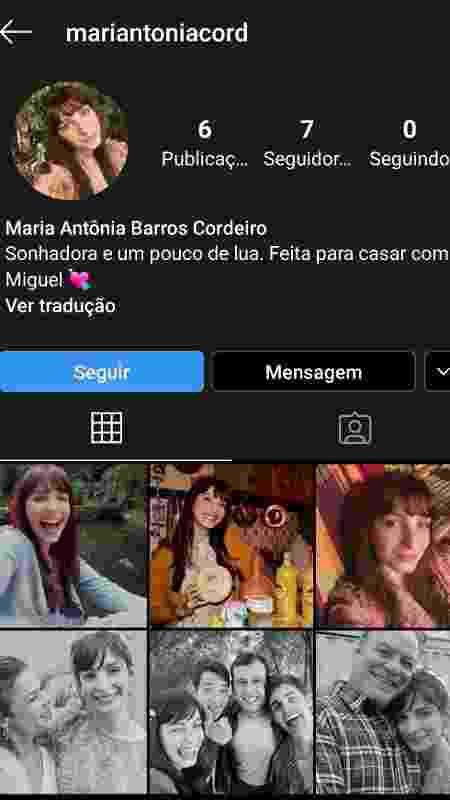 """Perfil de Maria Antonia de """"Amor Sem Igual"""" já está disponível no Instagram - Reprodução/Instagram"""