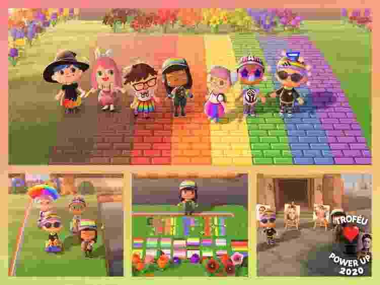 Parada LGBT no Animal Crossing em 2020 - Reprodução / Twitter (@Tanukibeans) - Reprodução / Twitter (@Tanukibeans)
