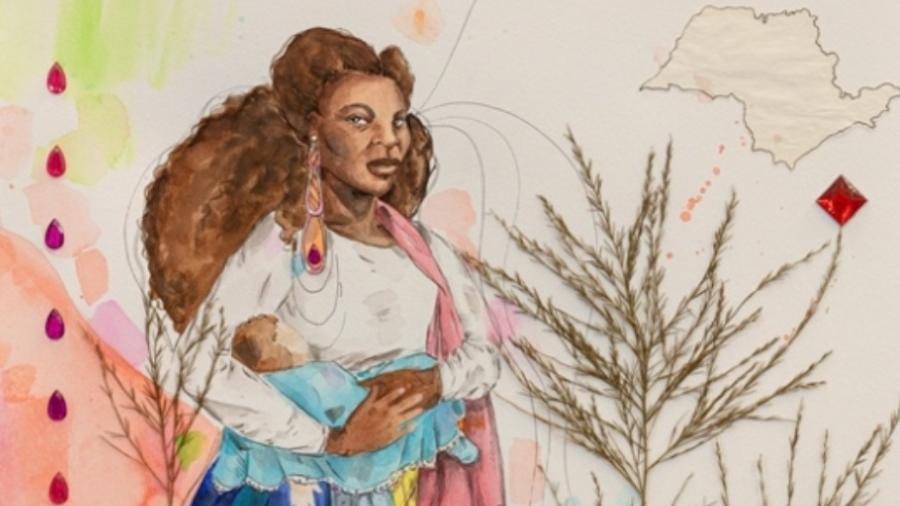 Ambrosina, aqui retratada pela artista Renata Felinto, era ama-de-leite em Taubaté (SP) no final do século 19; foi acusada de assassinar Benedito, filho dos patrões, tendo preferido amamentar seu próprio filho - Divulgação
