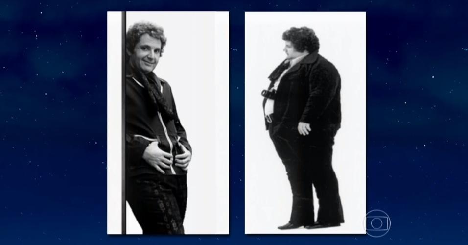 """17.ago.2015 -  Enquanto entrevistava o médico Máximo Ravenna, argentino que ajudou a presidente Dilma Rousseff a emagrecer, Jô Soares exibiu no programa duas imagens sua nos anos 70, época em que fez sua primeira dieta 'cortando' carboidratos. """"Pesava 160 quilos (imagem da esquerda). Ao lado, 80 (imagem da direita). Depois como não não tive estÍmulo voltei a engordar"""", disse o apresentador"""