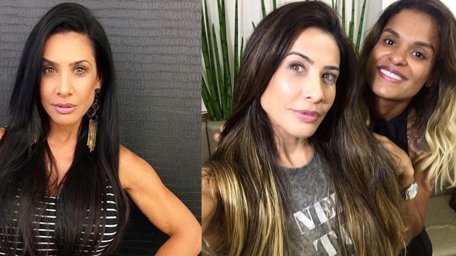 Antes e depois de Scheila Carvalho, que clareou e alongou os fios - Reprodução/Instagram